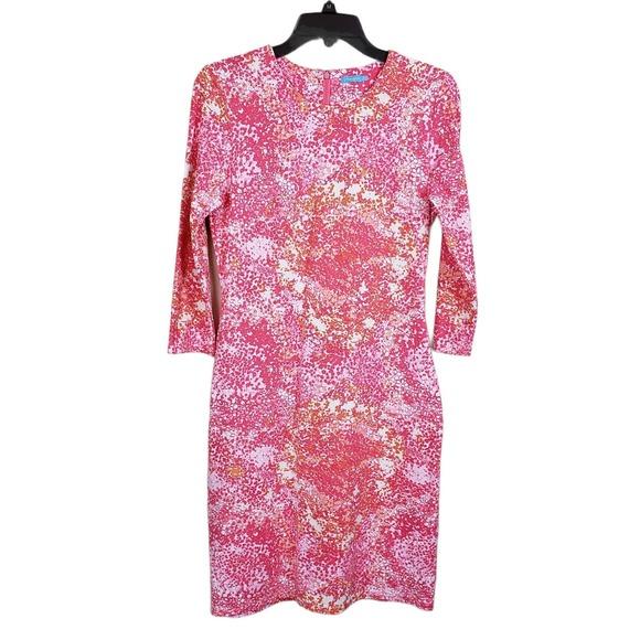 J. McLaughlin Pink Floral Boat Neck Sheath Dress S